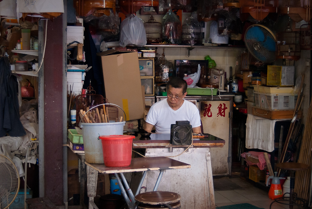 Man making bird averies in Yuen Po Street bird market, Hong Kong