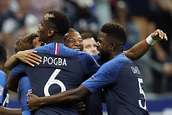 (L-R) Antoine Griezmann of France, Paul Pogba of France, Kylian Mbappe of France, Samuel Umtiti of France during the UEFA Nations League A group 1 qualifying match between France and The Netherlands on September 09, 2018 at Stade de France in Saint Denis,  France
