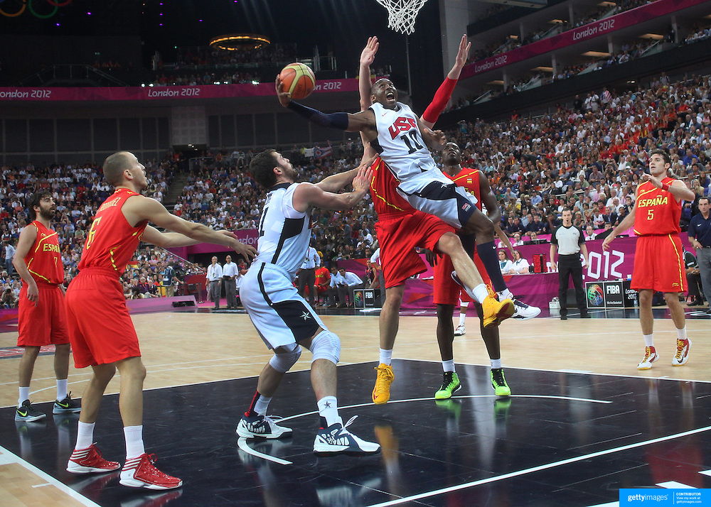 Lebron James, USA, drives to the basket during the Men's Basketball Final between USA and Spain at the North Greenwich Arena during the London 2012 Olympic games. London, UK. 12th August 2012. Photo Tim Clayton