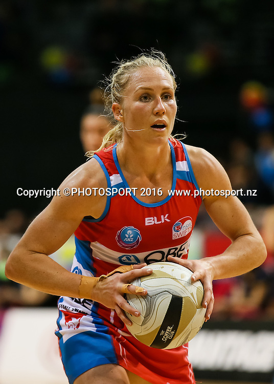 NSW Swift's Laura Langman prepares to pass during the ANZ Netball Championship semi final between the Waikato BOP Magic and the NSW Swifts, played at Claudelands Arena, Hamilton, New Zealand on Monday 25 July 2016.  Copyright Photo: Bruce Lim / www.photosport.nz