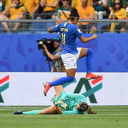 Lydia Williams of Austalia and Cristiane of Brazil during the Women's World Cup match between Australia and Brazil at Stade de la Mosson on June 13, 2019 in Montpellier, France. (Photo by Alexandre Dimou/Icon Sport)