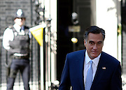 © Licensed to London News Pictures. 26/07/2012. Westminster, UK Mitt Romney, the US Republican presidential nominee in Downing Street England today 26 July 2012. Photo credit : Stephen Simpson/LNP