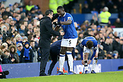 Everton defender Kurt Zouma (5) scores a goal 1-0  and celebrates with Everton Manager Marco Silva during the Premier League match between Everton and Bournemouth at Goodison Park, Liverpool, England on 13 January 2019.