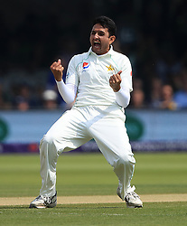 Pakistan's Mohammad Abbas celebrates taking the wicket of England's Jos Buttler during day four of the First NatWest Test Series match at Lord's, London.