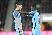 Bacary Sagna (3) of Manchester City talking to John Stones (24) of Manchester City during the Premier League match between Bournemouth and Manchester City at the Vitality Stadium, Bournemouth, England on 13 February 2017. Photo by Graham Hunt.