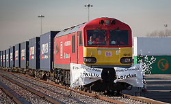 © Licensed to London News Pictures. 18/01/2017. London, UK.  The first direct rail freight train from China arrives at Barking Rail Freight Terminal east of London. The new service set off from China on the 3rd of January this year. London is now the 15th European city to join what the Chinese government calls the New Silk Route. Photo credit: Peter Macdiarmid/LNP