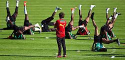 22.05.2010, Grandhotel, Lienz, AUT, FIFA Worldcup Vorbereitung, Pressekonferenz Kamerun im Bild Gymnastik steht auch auf den Programm der Kameruner, EXPA Pictures © 2010, PhotoCredit: EXPA/ J. Feichter / SPORTIDA PHOTO AGENCY