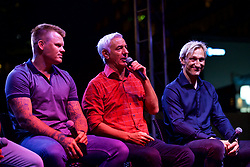 CHARLOTTE, USA - Saturday, July 21, 2018: John Arne Riise, Ian Rush and Sammi Hyypia at the Official Liverpool FC Legends live show at the Rooftop 102 in the Epicentre Charlotte ahead of a preseason International Champions Cup match between Borussia Dortmund and Liverpool FC in Charlotte. (Pic by David Rawcliffe/Propaganda)