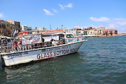 Heraklion, Crete Island Greece, Glass Bottom Boat in the Old harbour