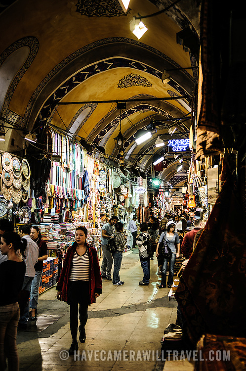Customers in one of the many streets of Istanbul's historic Grand Bazaar