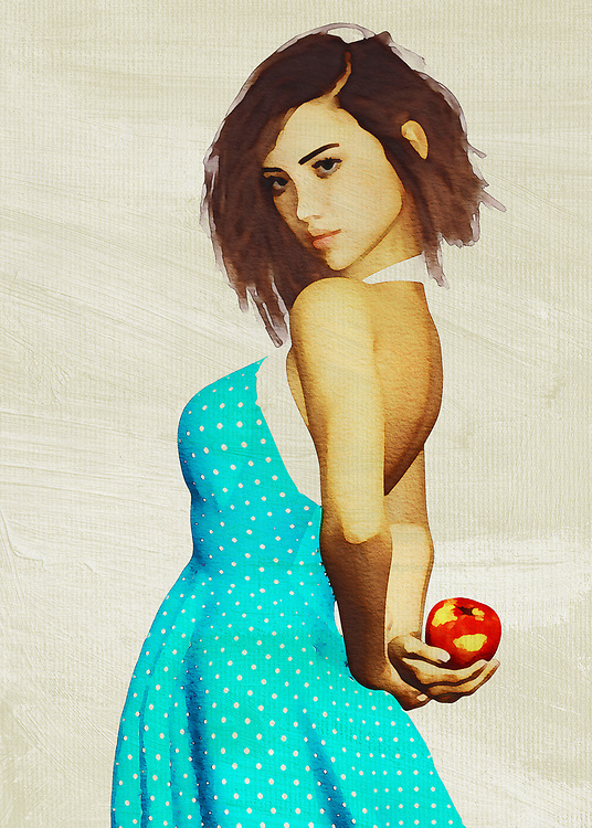 This charming fine art creation depicts a young woman with an apple. She is hiding the apple behind her back, leading us to wonder what she is up to. We look at her eyes. We study the way her brilliant blue dress seems to be in the middle of some sort of motion. She is a stunning young woman who is in complete control of her destiny. She is in good spirits. There is no question that whoever is with her is probably in good spirits, as well. This is a scene that can take you back to the prime moments of your youth. <br />