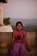 Girl in one of the terraces of the Mandalay Hill, Mandalay, Burma.<br />