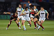 Nicky Smith of the Ospreys &copy; breaks past Jonathan Evans (9) of the Dragons. Guinness Pro12 rugby union, Newport Gwent Dragons v Ospreys at Rodney Parade in Newport, South Wales on Friday 12th Sept 2014<br /> pic by Andrew Orchard, Andrew Orchard sports photography.