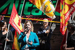 April 12, 2017 - Rome, Italy, Italy - Roberta Lombardi (M5S) during the demonstration of Alitalia workers against the reorganization plan in front of the Ministry of Economic Development  (Credit Image: © Andrea Ronchini/Pacific Press via ZUMA Wire)