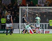 20th September 2017, Dens Park, Dundee, Scotland; Scottish League Cup Quarter-final, Dundee v Celtic; James Forrest scores Celtic's second goal for 2-0