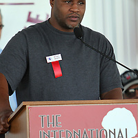 Champion Michael Moorer addresses the crowd during the 23rd Annual induction weekend opening ceremony at the International Boxing Hall of Fame on Thursday, June 7, 2012 in Canastota, NY. (AP Photo/Alex Menendez)