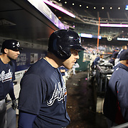 NEW YORK, NEW YORK - MAY 03:  Freddie Freeman, (center), #5 of the Atlanta Braves in the dugout watching play as he prepares to bat flanked by Jeff Francoeur, (left), #18 and manager Fredi González during the Atlanta Braves Vs New York Mets MLB regular season game at Citi Field on May 03, 2016 in New York City. (Photo by Tim Clayton/Corbis via Getty Images)