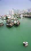 Boats at mooring Hong Kong Harbour