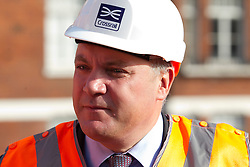 © Licensed to London News Pictures. 05/09/2013. London, UK. Shadow Chancellor Ed Balls is seen at the site of the Bond Street Crossrail station in London today (05/09/2013). The station forms part of the Crossrail train line, which will be 73 miles (118 km) long when finished in 2018, will connect Maidenhead and Heathrow in the west of London to Shenfield and Abbey Wood in the east, passing under central London to create a new commuter link. Photo credit: Matt Cetti-Roberts/LNP