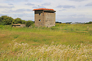 Old wartime observation tower military building at East Lane, Bawdsey, Suffolk, England, UK