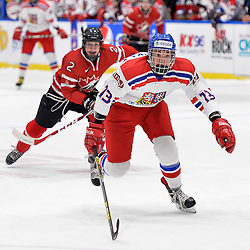 WHITBY, - Dec 16, 2015 -  Game #8 - Czech Republic vs. Canada East at the 2015 World Junior A Challenge at the Iroquois Park Recreation Complex, ON.  Tomas Psenicka #13 of Team Czech Republic skates after the puck during the first period.<br /> (Photo: Shawn Muir / OJHL Images)