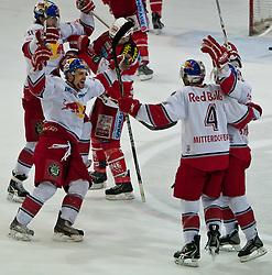 07.04.2011, Volksgarten Arena, Salzburg, AUT, EBEL, FINALE, EC RED BULL SALZBURG vs EC KAC, im Bild Torjubel Salzburg nach dem Ausgleich zum 1 zu 1 durch Martin St.Pierre, (EC RED BULL SALZBURG, #11) // during the EBEL Eishockey Final, EC RED BULL SALZBURG vs EC KAC at the Volksgarten Arena, Salzburg, 2011-04-07, EXPA Pictures © 2011, PhotoCredit: EXPA/ J. Feichter