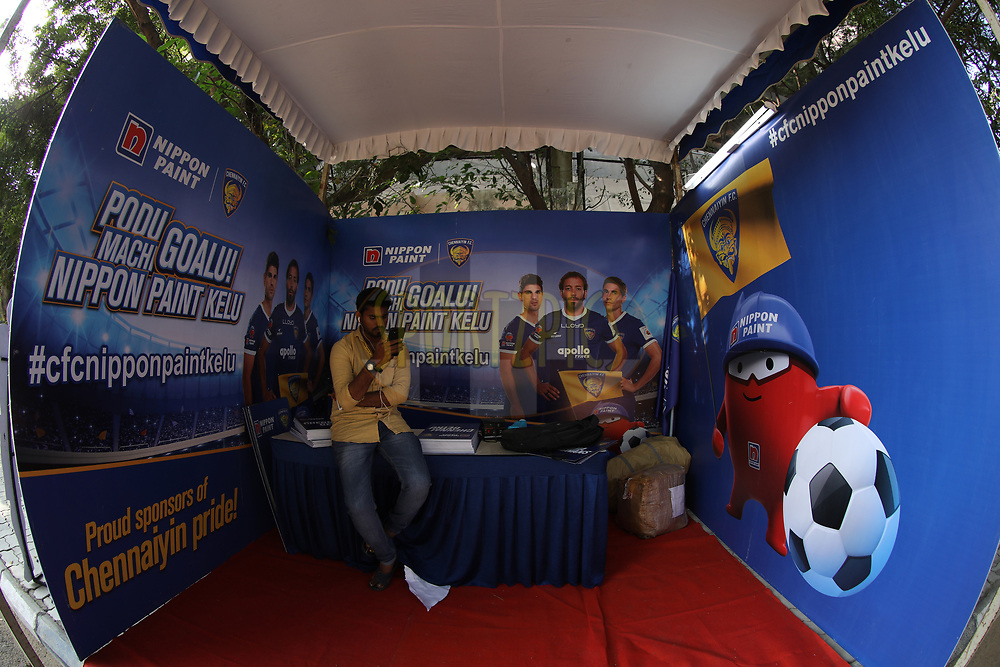 Branding stall during match 41 of the Hero Indian Super League between Chennaiyin FC and Delhi Dynamos FC   held at the Jawaharlal Nehru Stadium, Chennai India on the 7th January 2018<br /> <br /> Photo by: Arjun Singh  / ISL / SPORTZPICS