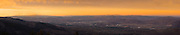 Ultra high resolution Sunset panorama looking over downtown Reno and Sparks, Nev., from the surrounding mountains.