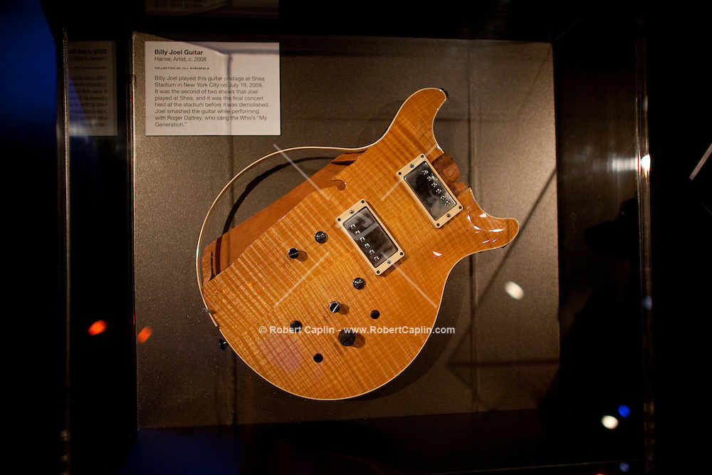 Billy Joel guitar on display at The Rock and Roll Hall of Fame Annex in New York City..(Photo by Robert Caplin)..