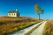 Kansas / Chase County / Tallgrass Prairie National Preserve / Flint Hills / Lower Fox Creek Schoolhouse / <br /> One Room Schoolhouse / Built In 1882 / Cottonwood Tree / Autumn