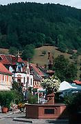 Deutschland, Germany,Baden-Wuerttemberg.Schwarzwald.Wolfach, Hauptstraße mit Brunnen.Wolfach, main street with fountain...