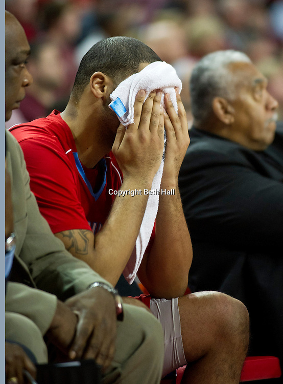 Jan 5, 2013; Fayetteville, AR, USA; Delaware State Hornets guard Tyshawn Bell reacts after coming off the court during a game against the Arkansas Razorbacks at Bud Walton Arena. Arkansas defeated Delaware State 86-51. Mandatory Credit: Beth Hall-USA TODAY Sports