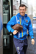 Shrewsbury Town midfielder Shaun Whalley (7) gets off the team coach prior to the EFL Sky Bet League 1 match between Scunthorpe United and Shrewsbury Town at Glanford Park, Scunthorpe, England on 17 March 2018. Picture by Mick Atkins.