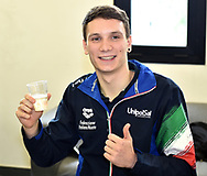Roma 13-3-2019 Centro Federale di Ostia <br /> Swimmer Manuel Bortuzzo makes a toast at the end of a meeting with the press. Manuel Bortuzzo was shot in the back due to a mistaken identity and is paralysed from the waist down since then. This is the first outing of Manuel from the hospital and the rehabilitation center.  <br /> Foto Andrea Staccioli / Deepbluemedia / Insidefoto