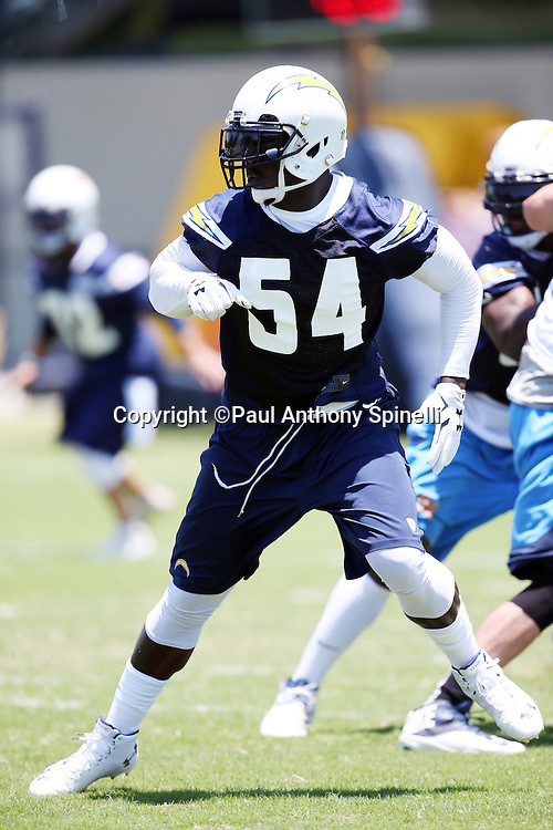 San Diego Chargers linebacker Melvin Ingram (54) chases the action during the San Diego Chargers Spring 2015 NFL minicamp practice held on Tuesday, June 16, 2015 in San Diego. (©Paul Anthony Spinelli)