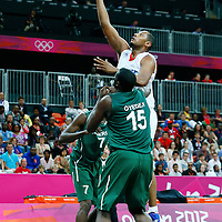 06 August 2012: France Boris Diaw goes for the layup in the traffic during 79-73 Team France victory over Team Nigeria, during the men's basketball preliminary, at the Basketball Arena, in London, Great Britain.