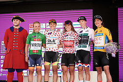 The celebrated riders: Emilie Moberg (NOR), Soraya Paladin (ITA), Susanne Andersen (NOR), Lorena Wiebes (NED) and Marianne Vos (NED) after Ladies Tour of Norway 2019 - Stage 4, a 154 km road race from Svinesund to Halden, Norway on August 25, 2019. Photo by Sean Robinson/velofocus.com