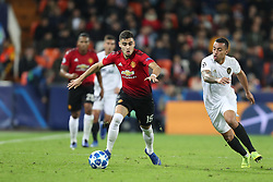 December 12, 2018 - Valencia, Spain - December 12, 2018 - Valencia, Spain - .Andreas Pereira of Manchester United during the UEFA Champions League, Group H football match between Valencia CF and Manchester United on December 12, 2018 at Mestalla stadium in Valencia, Spain (Credit Image: © Manuel Blondeau via ZUMA Wire)