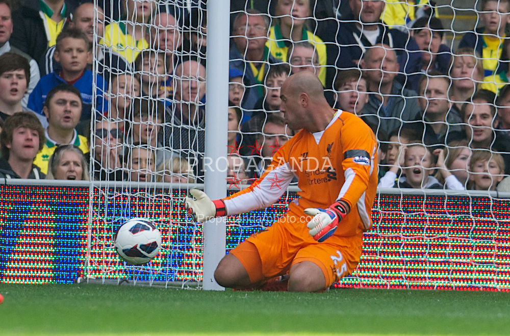 NORWICH, ENGLAND - Saturday, September 29, 2012: Liverpool's goalkeeper Jose Reina makes a save against Norwich City during the Premiership match at Carrow Road. (Pic by David Rawcliffe/Propaganda)