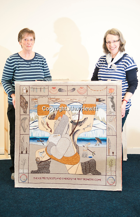 Great Tapestry of Scotland. Completed panels start to arrive back at The Tapestry Hub in the Hardengreen Industrial Estate, Dalkeith nr Edinburgh for blocking, stretching and backing. 6th June 2013<br /> <br /> Picture by Alex Hewitt