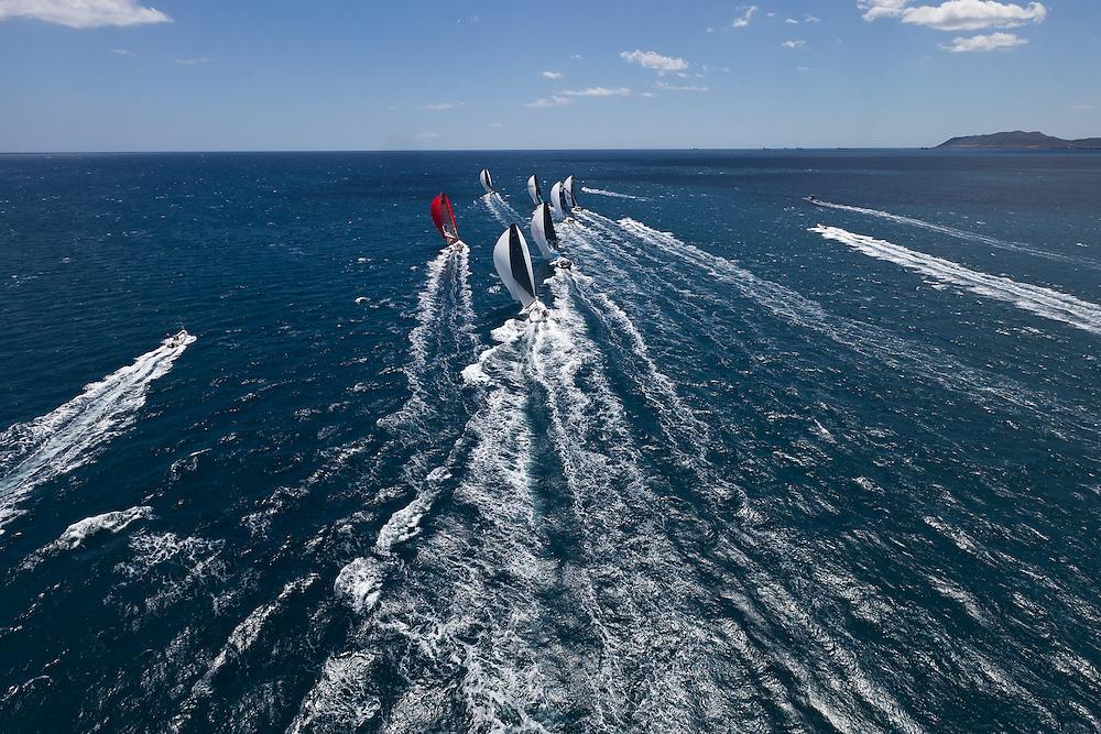 ITALY, Sardinia, Cagliari. 20th July 2011. AUDI MedCup. Region of Sardinia Trophy. The TP52 fleet sail downwind.