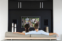 Back view of couple watching movie on television in living room