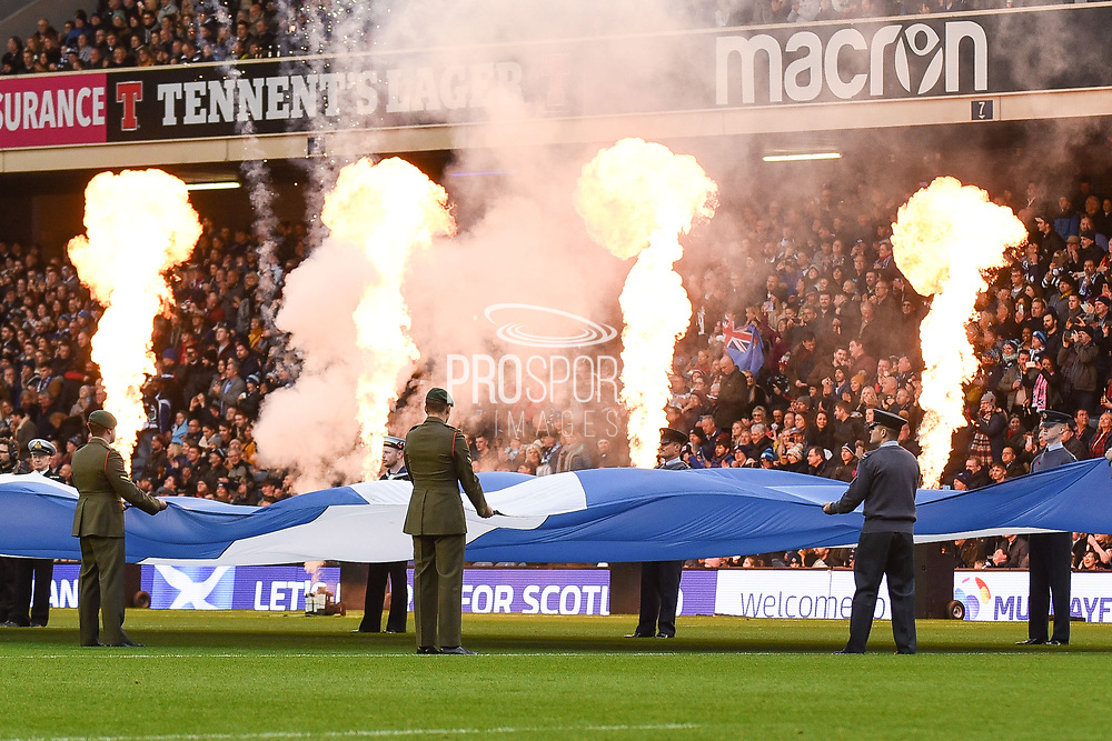 The armed forces present the Scottish Saltire before the 2018 Autumn Test match between Scotland and Fiji at Murrayfield, Edinburgh, Scotland on 10 November 2018.