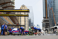 April 27, 2018 - Baku, Azerbaijan - 10 GASLY Pierre (fra), Scuderia Toro Rosso Honda STR13, pitlane during the 2018 Formula One World Championship, Grand Prix of Europe in Azerbaijan from April 26 to 29 in Baku - Photo  /  Motorsports: World Championship; 2018; Grand Prix Azerbaijan, Grand Prix of Europe, Formula 1 2018 Azerbaijan Grand Prix, (Credit Image: © Hoch Zwei via ZUMA Wire)