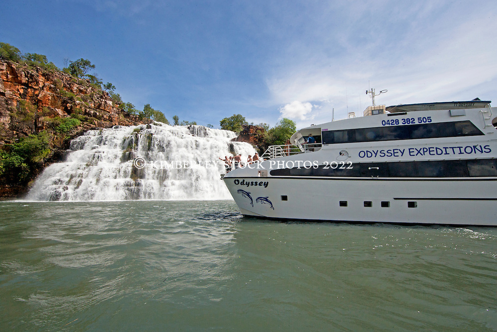 Charter vessel MV Odyssey at King's Cascades in the Prince Regent River