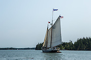 Fox Island Thorofare, ME - 11 August 2014. The windjammer schooner Stephen Taber in Fox Island Thorofare.