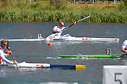Eton Dorney, Windsor, Great Britain,..GBR Men's K1. Tim BRABANTS, competing in the semi final of the 1000 M. Kayak Single [K1] Heats and celebrating, qualifying by finishing fourth in the semi...2012 London Olympic Canoe and Kayak Sprints Races. Eton Rowing Centre. Dorney Lake. Berkshire.  Dorney Lake.  ... ..11:01:33  Monday  06/08/2012 [Mandatory Credit: Peter Spurrier/Intersport Images]  .