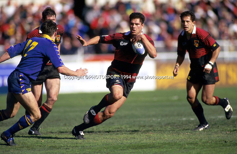 Tabai Matson in action for Canterbury - Canterbury v Otago, NPC Rugby - Ranfurly Shield game at Lancaster Park, Christchurch, New Zealand. 1 October 1994. Photo: Andrew Cornaga/Photosport.co.nz