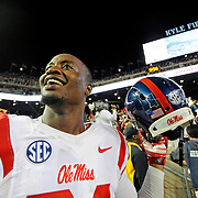 Mississippi linebacker Keith Lewis (24) celebrates after an NCAA college football game against Texas A&M in College Station, Texas, Saturday, Oct. 11, 2014. No. 3 Mississippi won 35-20. (Photo/Thomas Graning)