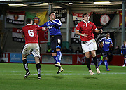 Chesterfield Forward Lee Novak challenges FC United's Luke Ashworth during the The FA Cup match between FC United of Manchester and Chesterfield at Broadhurst Park, Manchester, United Kingdom on 9 November 2015. Photo by Pete Burns.